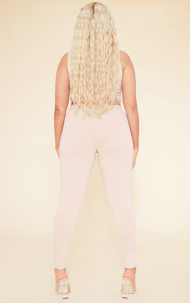 RECYCLED Plus Deep Nude Pinstripe Leggings 4