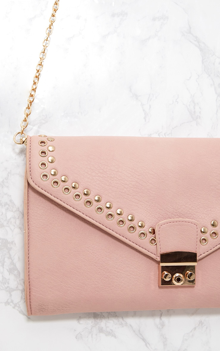 Pink Eyelet and Stud Lockable Clutch 5