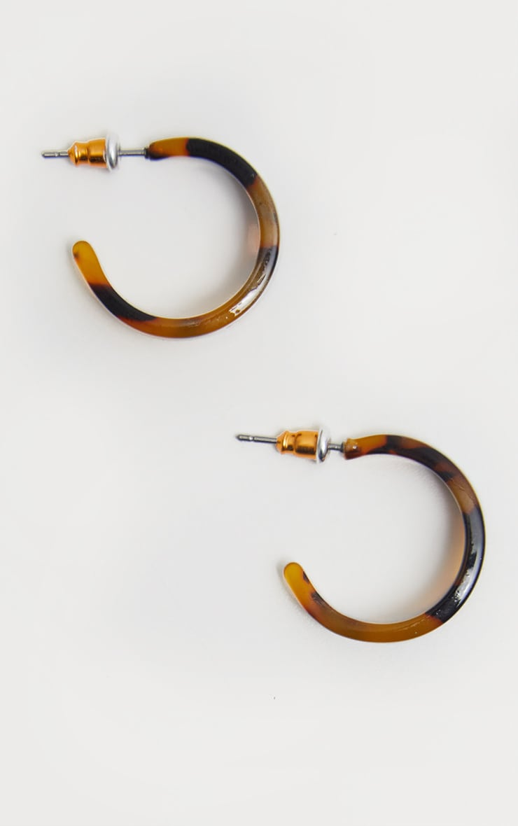 Brown Tortoiseshell Resin Mini Hoops 2