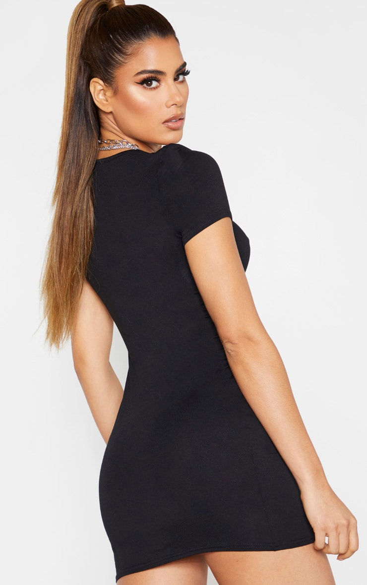 Tall Black Basic Short Sleeve Split Mini Dress  2