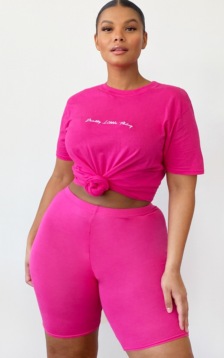 PRETTYLITTLETHING Plus Bright Pink Slogan T Shirt 1