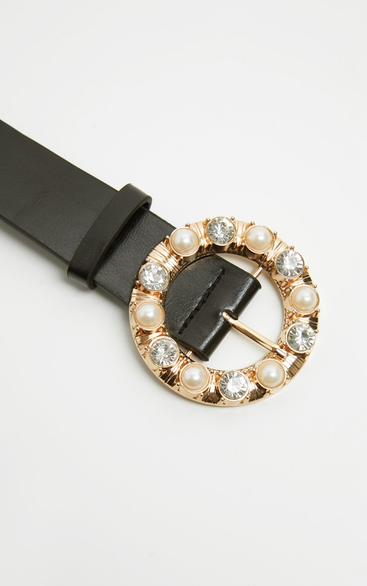 Black Gemstone And Pearl Round Buckle Belt 3
