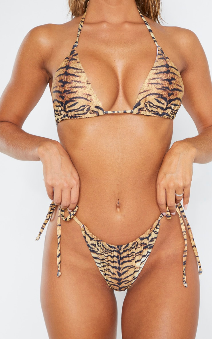 Brown Tiger Adjustable String Tie Bikini Bottoms 5