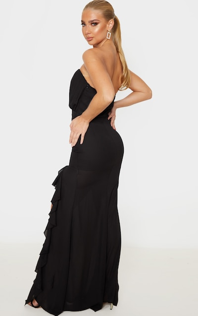 Black Bandeau Ruched Frill Maxi Dress