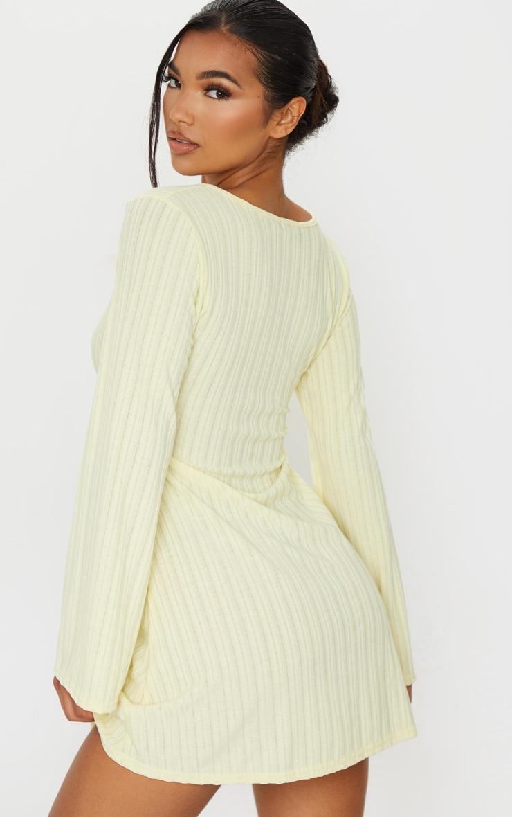 Cream Fine Rib Tie Neck Shift Dress 2