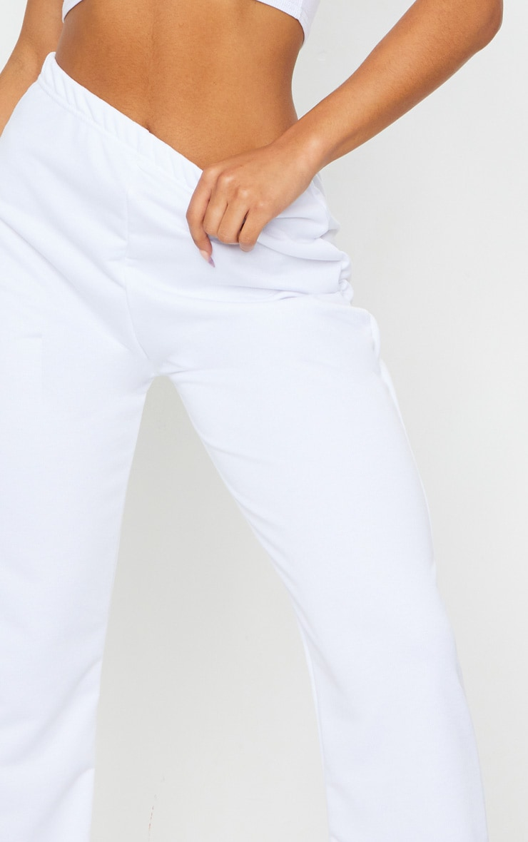White Basic Cuffed Hem Jogger 4