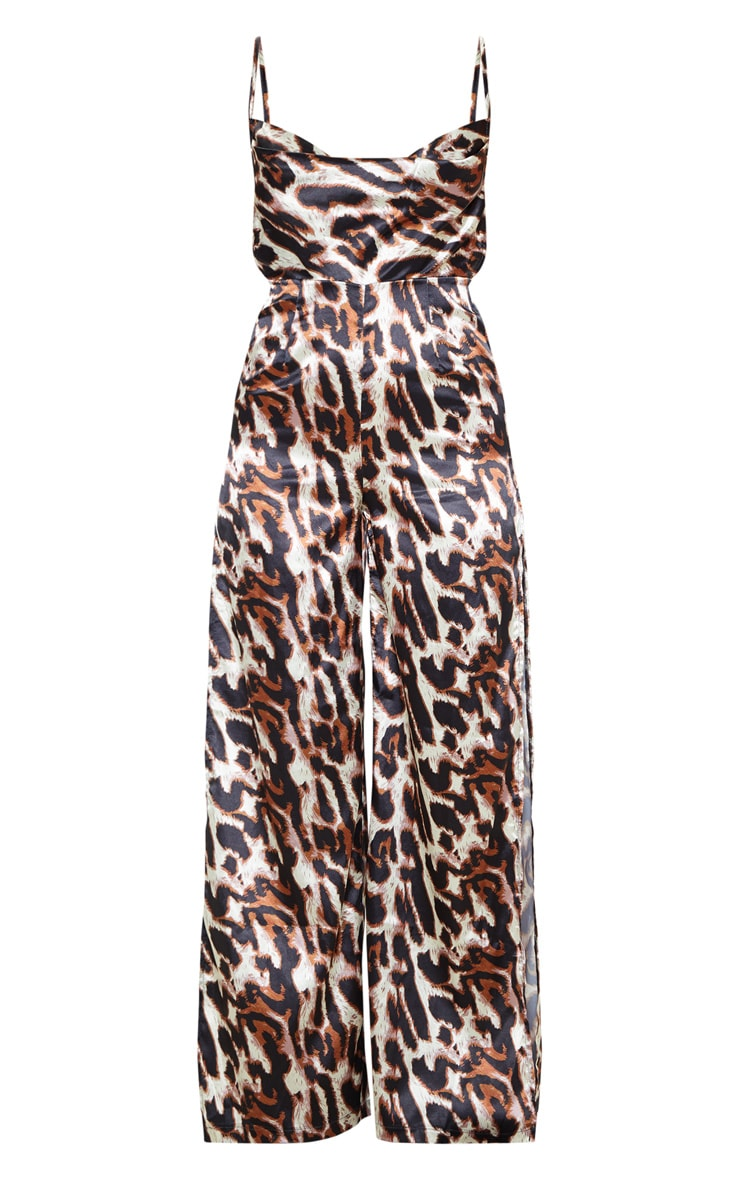 Tan Leopard Satin Cowl Neck Extreme Split Jumpsuit 3