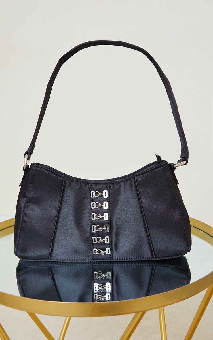 Black Satin Hook Front Shoulder Bag 2