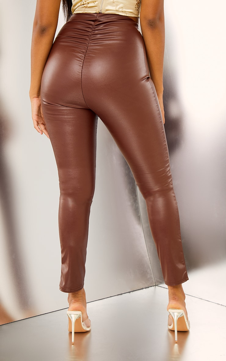 Chocolate Ruched Faux Leather Legging 3