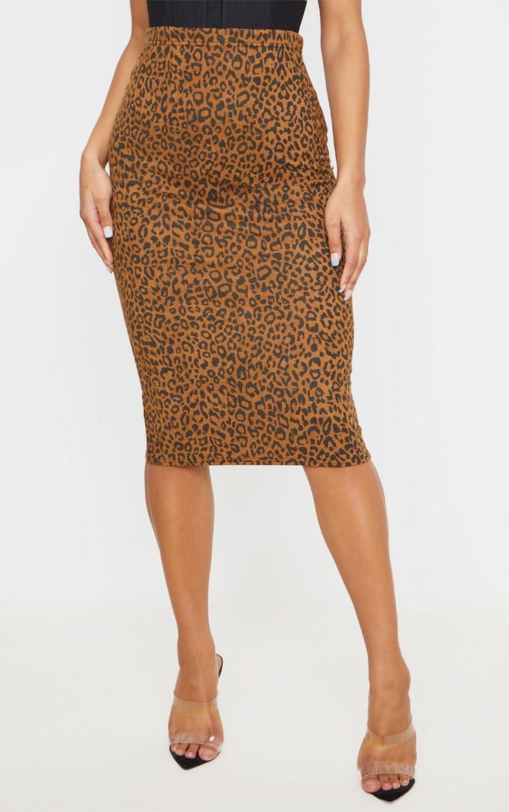 Camel Leopard Print Faux Suede Midi Skirt 2