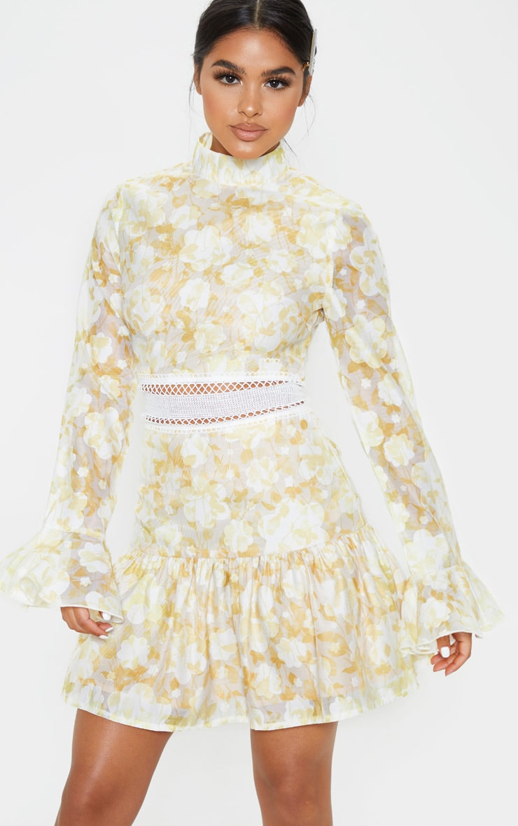 Petite Lemon Yellow Floral Flare Sleeve High Neck Frill Hem Dress 1