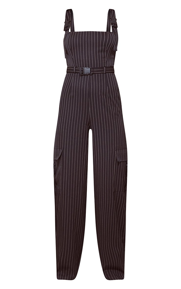 Black Pinstripe Buckle Detail Wide Leg Jumpsuit 4