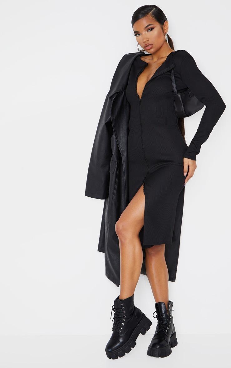 Black Jumbo Rib Double Zip Midi Dress 3