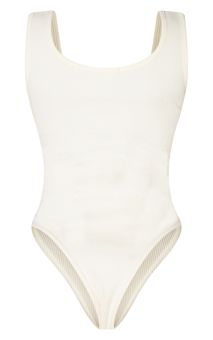 Shape Cream Ribbed Square Neck Bodysuit 4