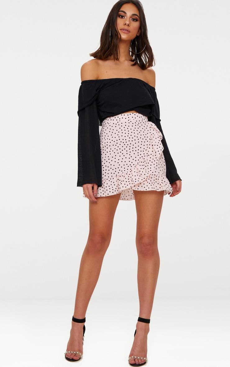 Mini-jupe nude coupe portefeuille à pois et ourlets volantés 5