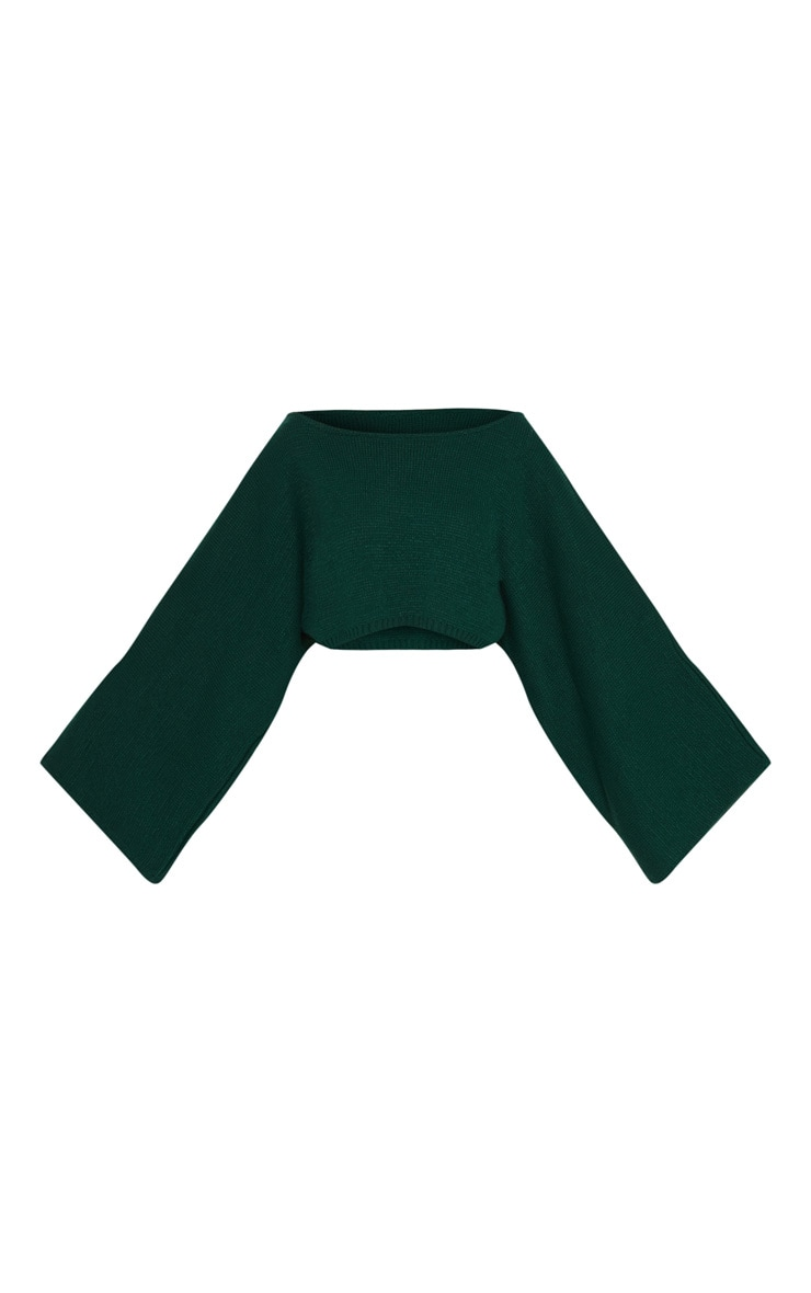 Bottle Green Knitted Wide Sleeve Jumper 3