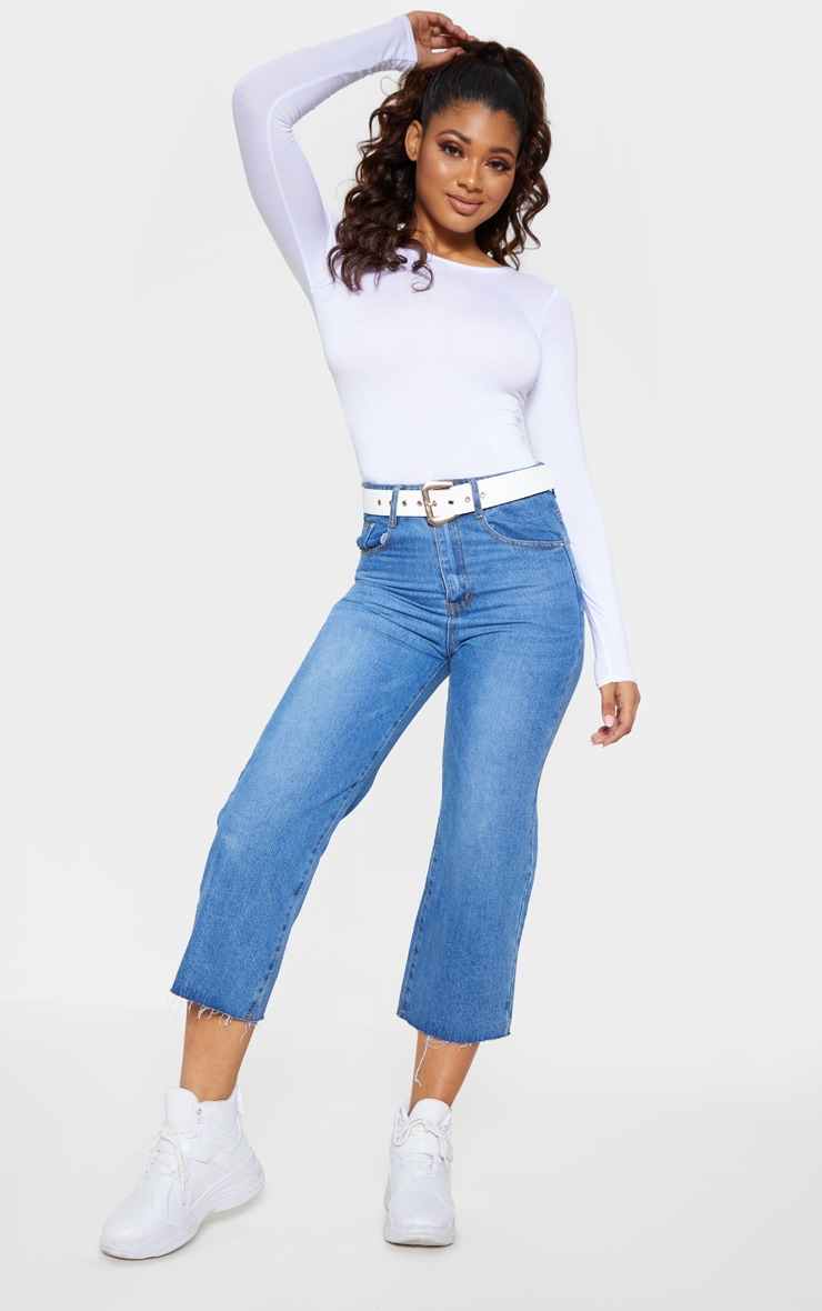 Tall White Basic Crew Neck Long Sleeve Bodysuit 5