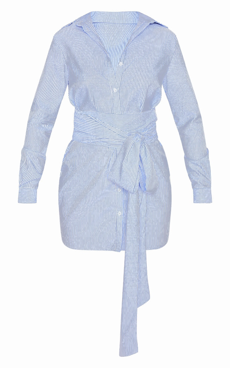Blue Pinstripe Tie Waist Shirt Dress 3