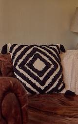 Monochrome Diamond Tassel Filled Cushion 1