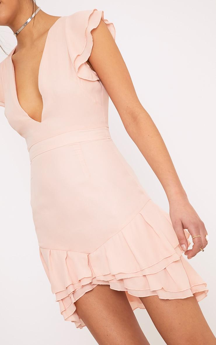 Nieva Blush Chiffon Frill Detail Bodycon Dress 5