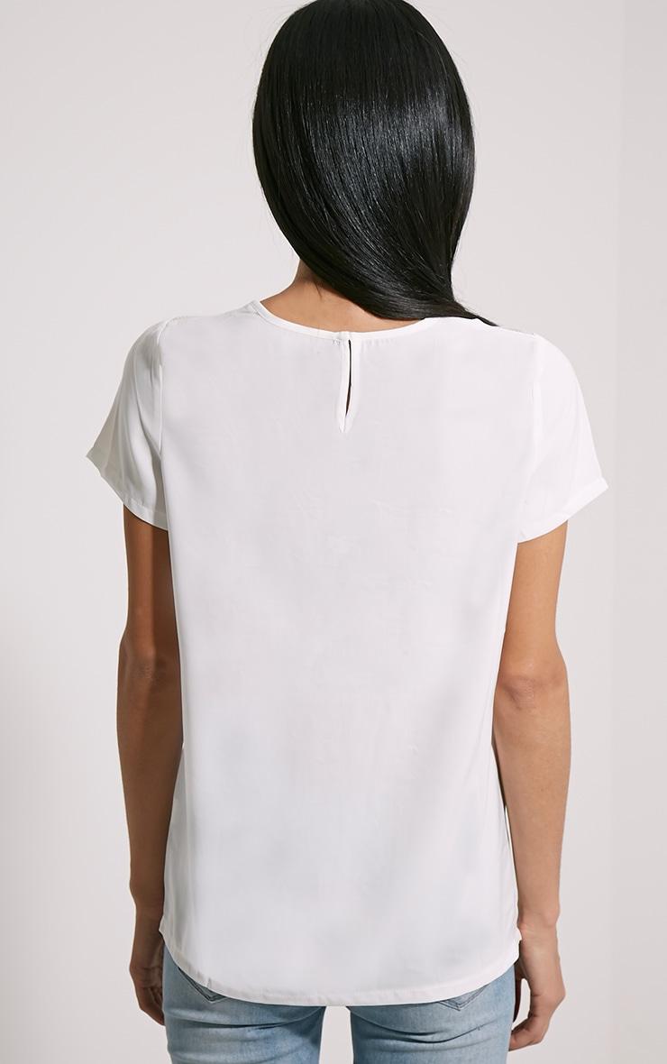 Bexley White Fishnet Panel T-Shirt 2