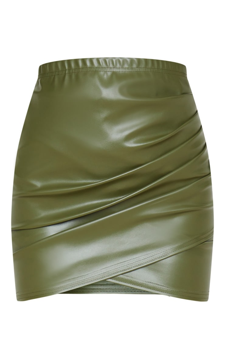 Khaki Faux Leather Ruched Wrap Skirt 3
