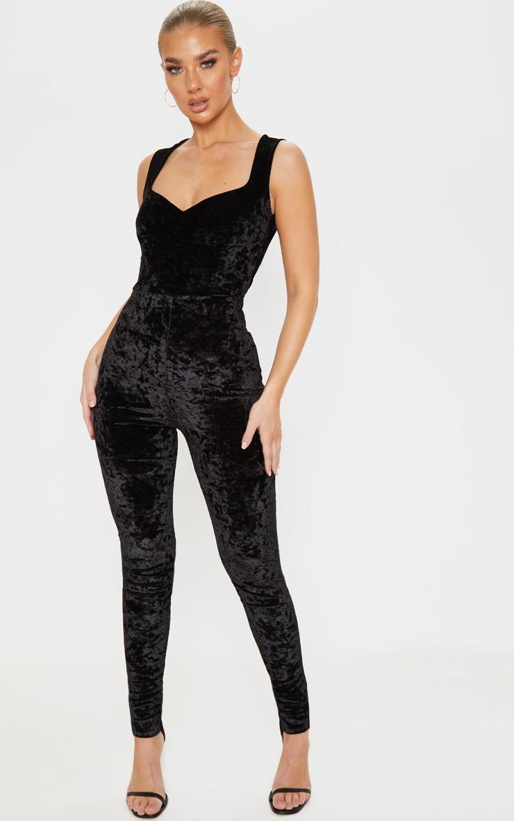 Black Crushed Velvet Sweetheart Neckline Jumpsuit 1