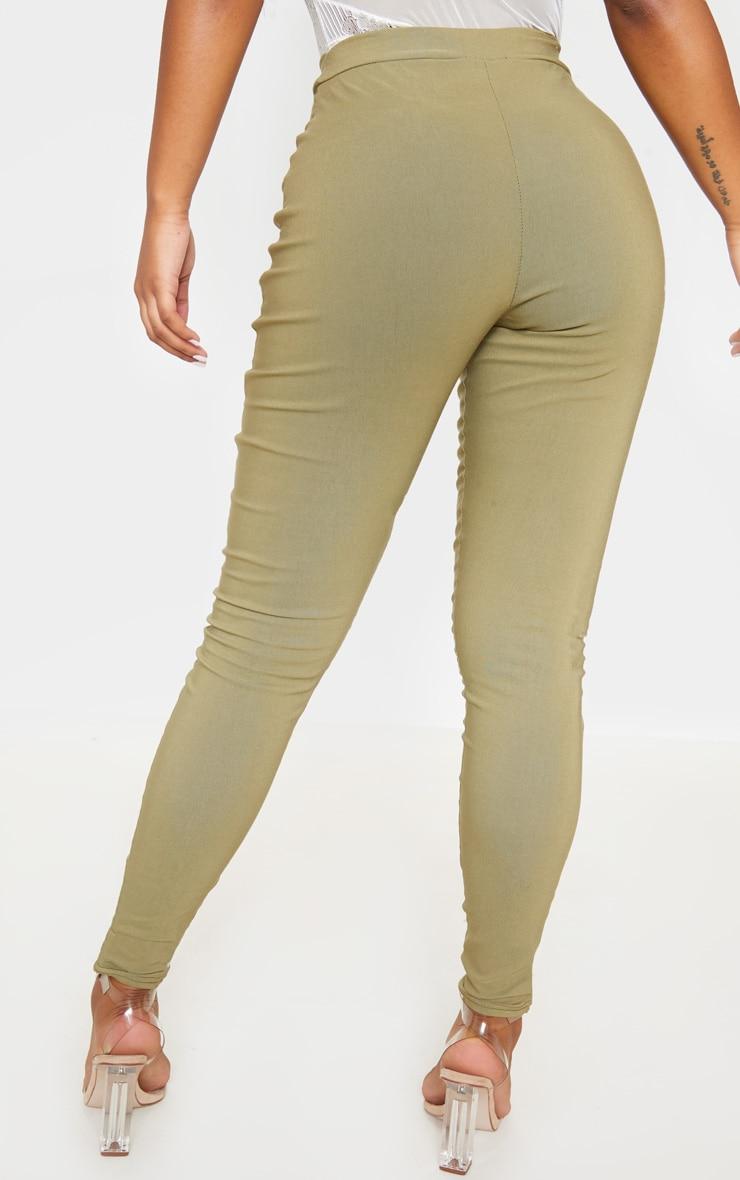 Khaki High Waisted Woven Stretch Legging 4