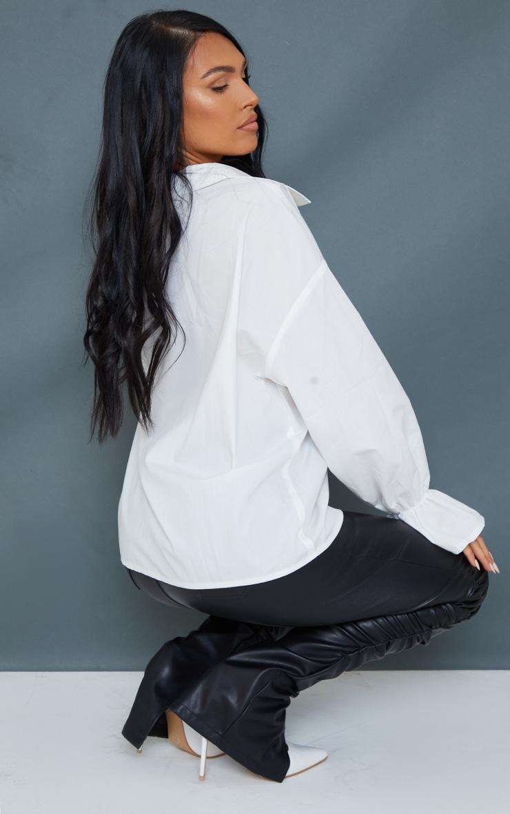 White Poplin Flare Cuff Oversized Shirt 2