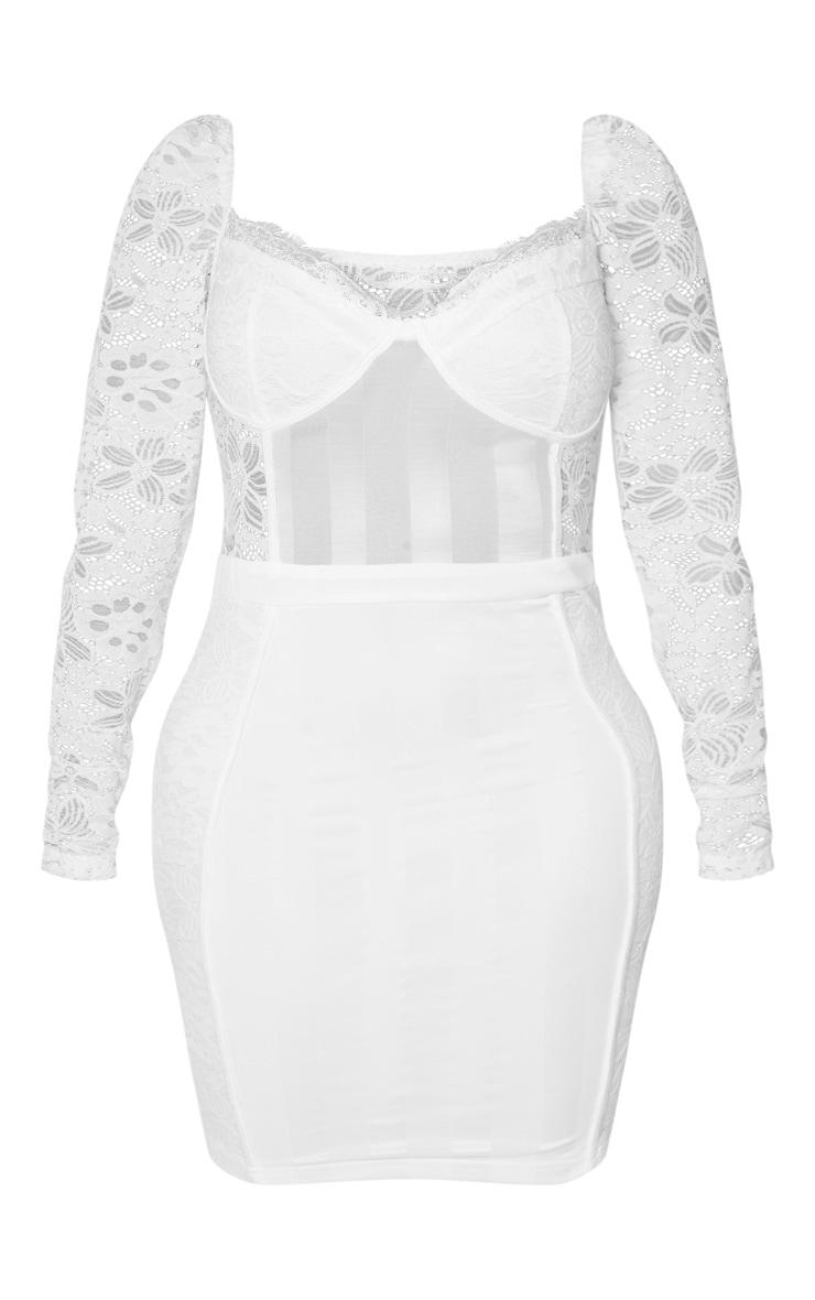 Shape White Lace Mesh Stripe Long Sleeve Bodycon Dress 3