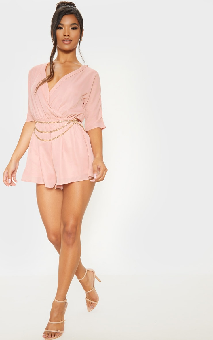 Bobby Nude Chiffon Wrap Front Playsuit 1