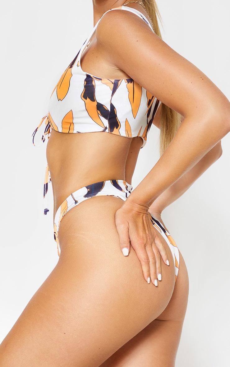 Bas de bikini taille haute à imprimé tropical noir 2