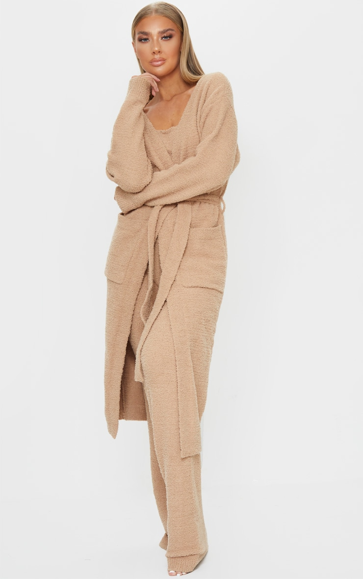 Taupe Chenille Longline Belted Pocket Detail Cardigan 1