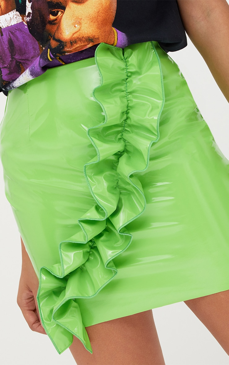Lime Green Oversized Ruffle Vinyl Mini Skirt 6