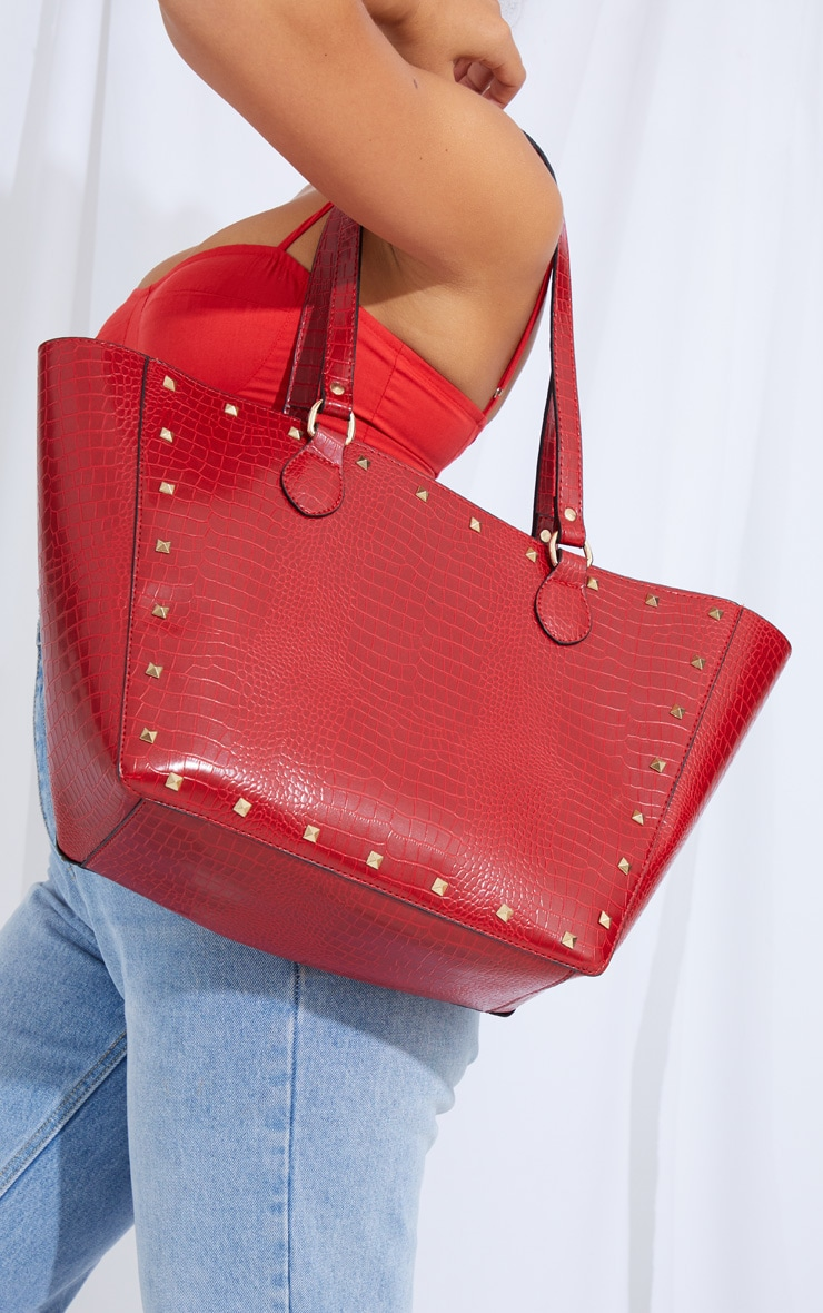 Red Croc Gold Studded Tote Bag 2