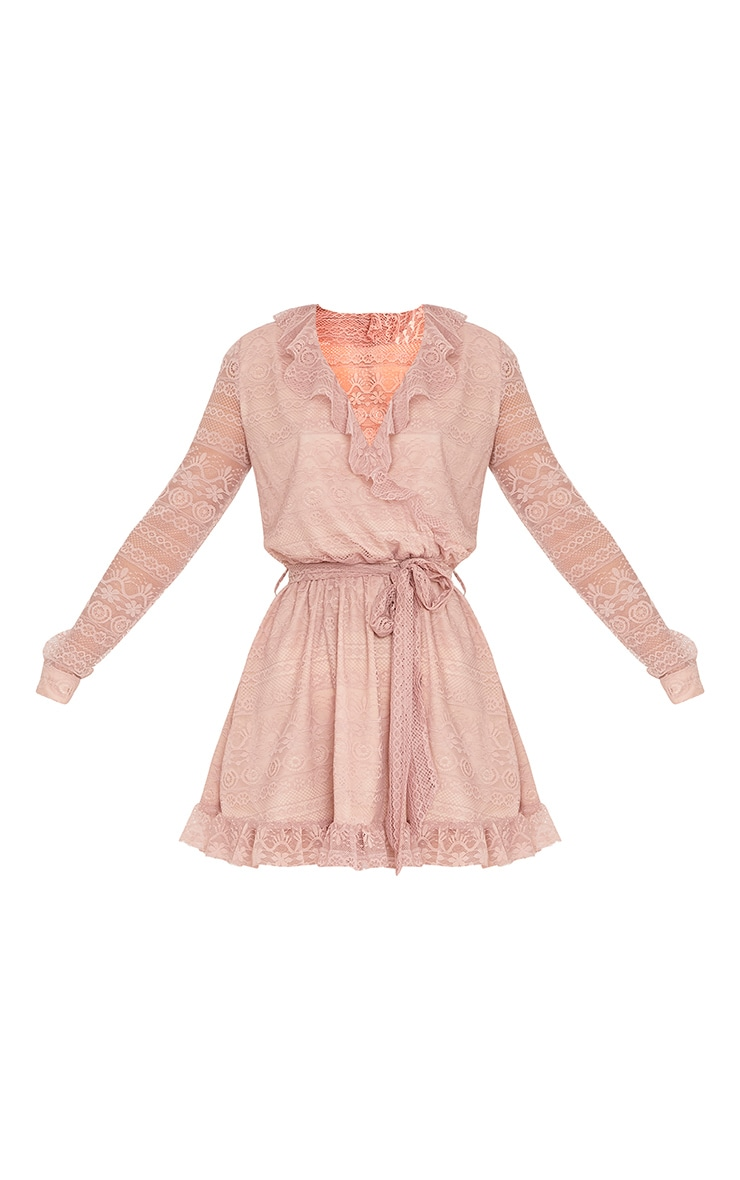 Kamini Dusty Pink Lace Frill Wrap Over Shift Dress  3