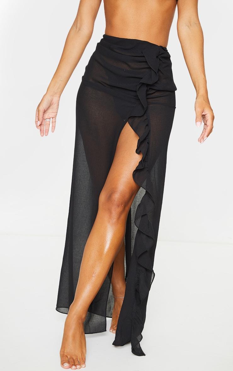 Black Frill Side Maxi Beach Skirt 2
