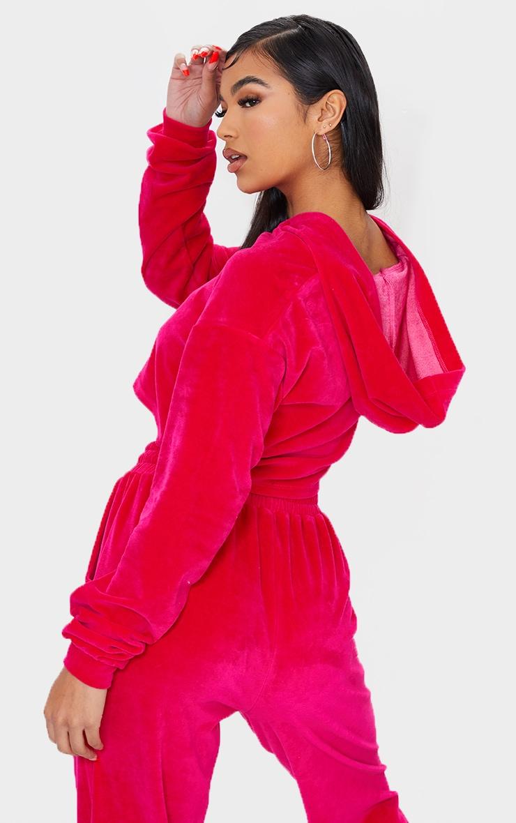 Bright Pink Velour Zip Through Cropped Hoodie 2