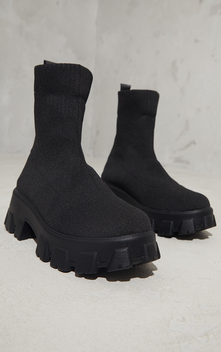 Black Knitted Sock Ankle Boots 3