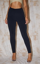RECYCLED Black Contour Jersey Leggings 2