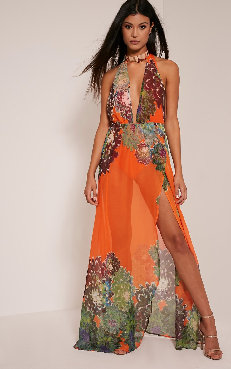 Alina Bright Orange Tropical Print Plunge Maxi Dress 4