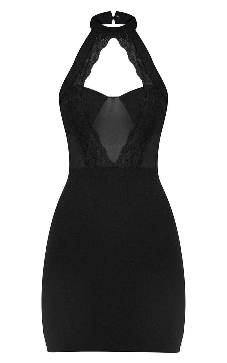 Black Lace Trim High Neck Sheer Top Bodycon Dress 3