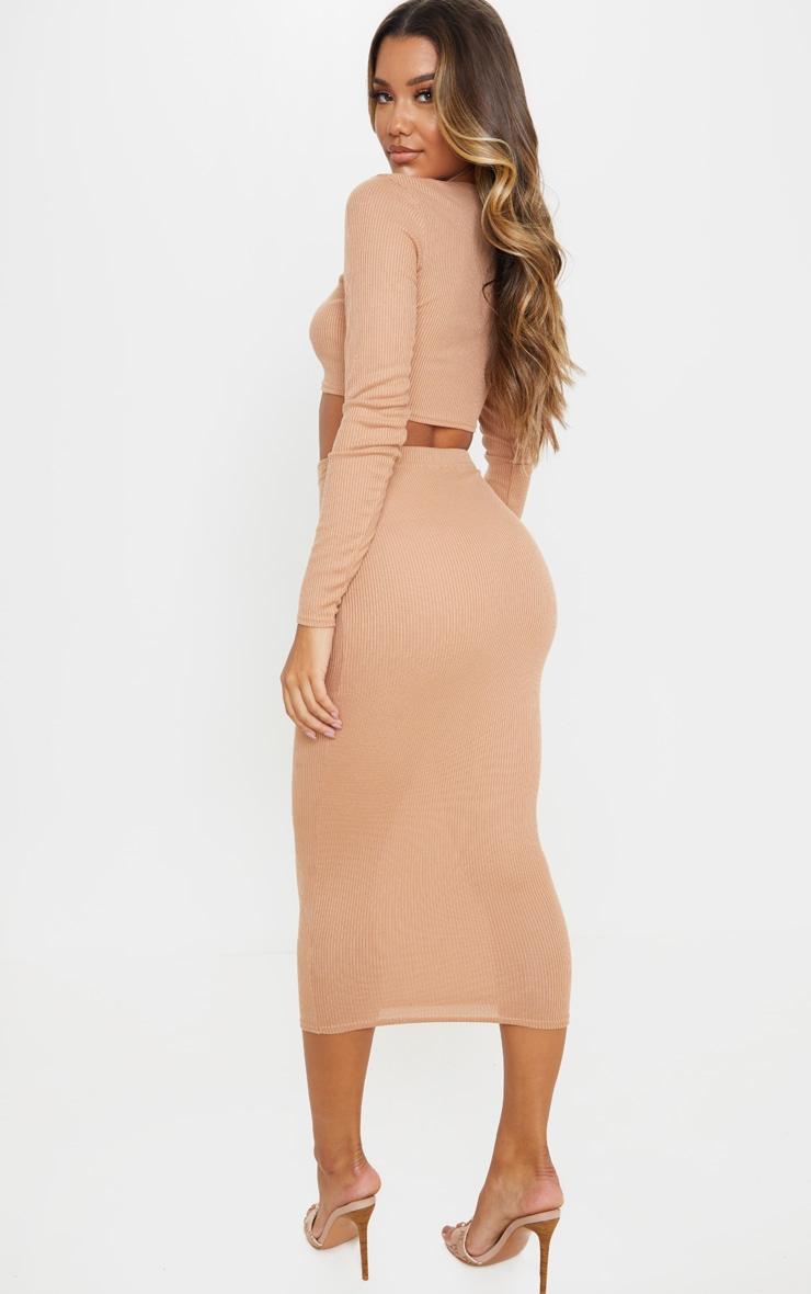 Camel Rib Crop And Skirt Set 2