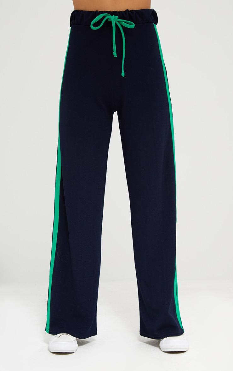 Navy Wide Leg Contrast Stripe Track Pants  2