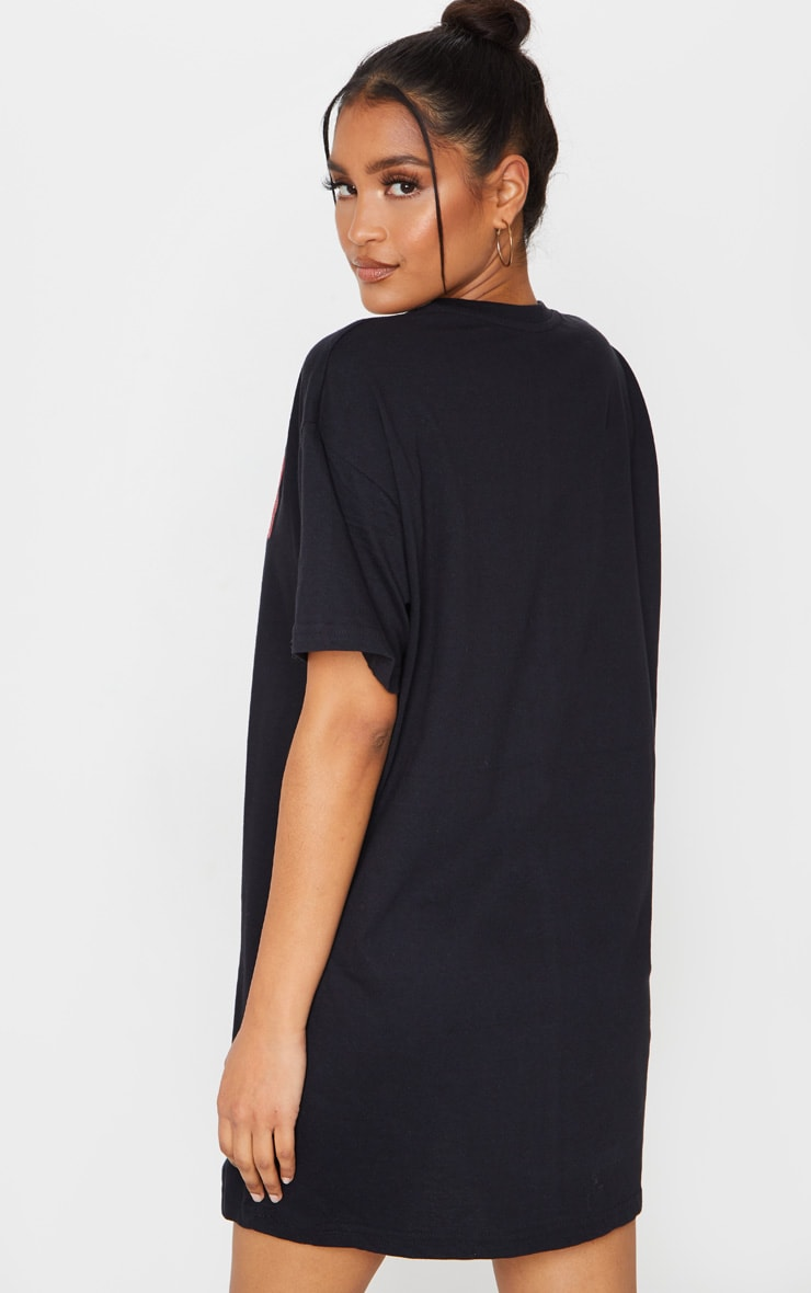 Black Snoop Dog Slogan Oversized T Shirt Dress 2