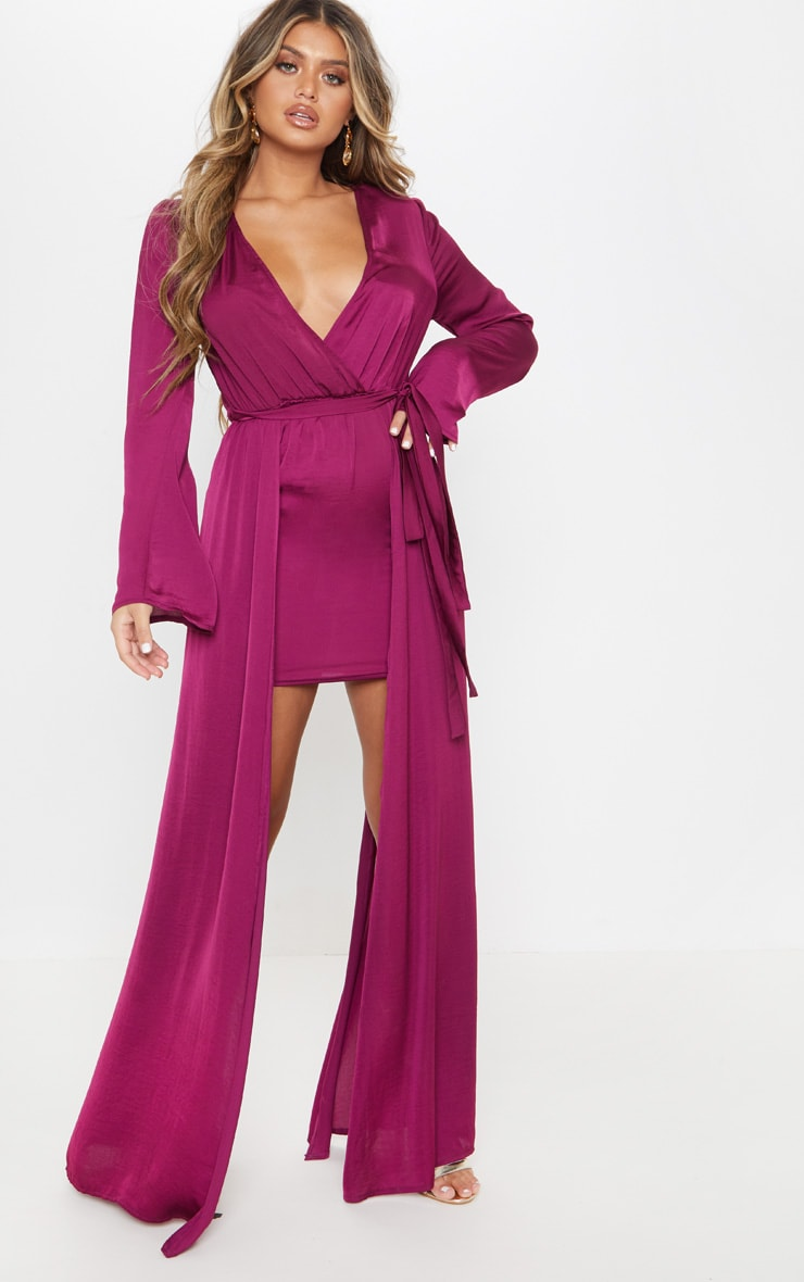 Berry Satin Plunge 2 in 1 Maxi Dress 4