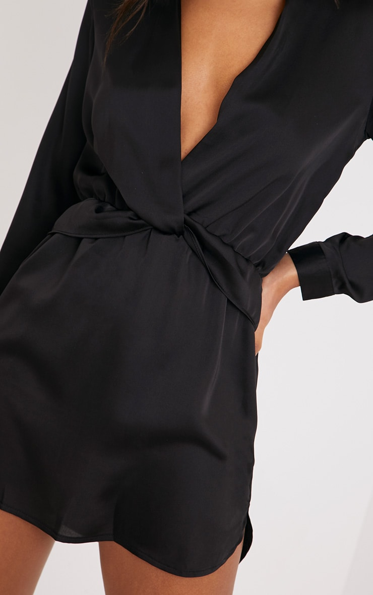 Katalea Black Twist Front Silky Shirt Dress 5