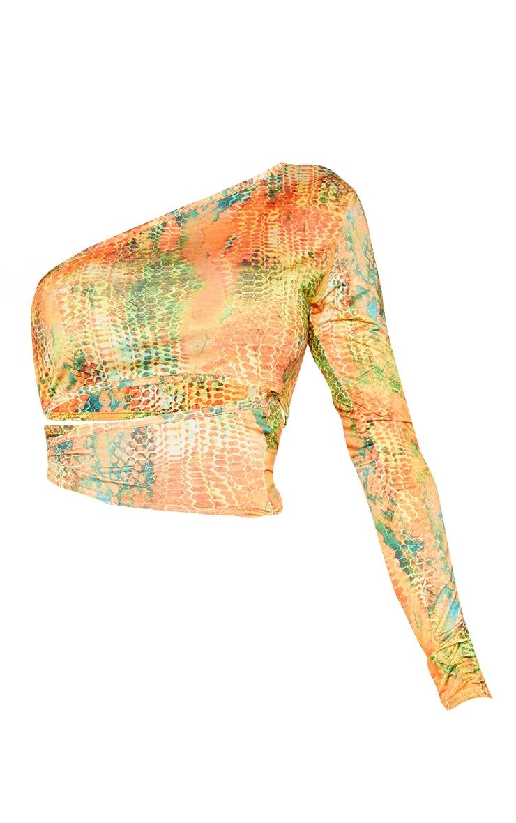 Shape Orange Croc Print Slinky Cut Out Side One Sleeve Bodycon Dress 5