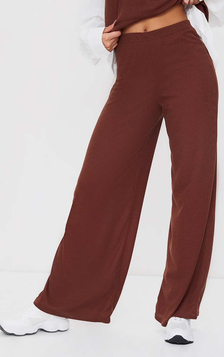 Chocolate Brown Ribbed Wide Leg Trousers 2