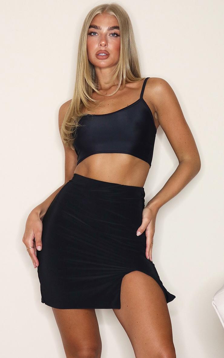 Black Slinky Slit Hem Mini Skirt 1